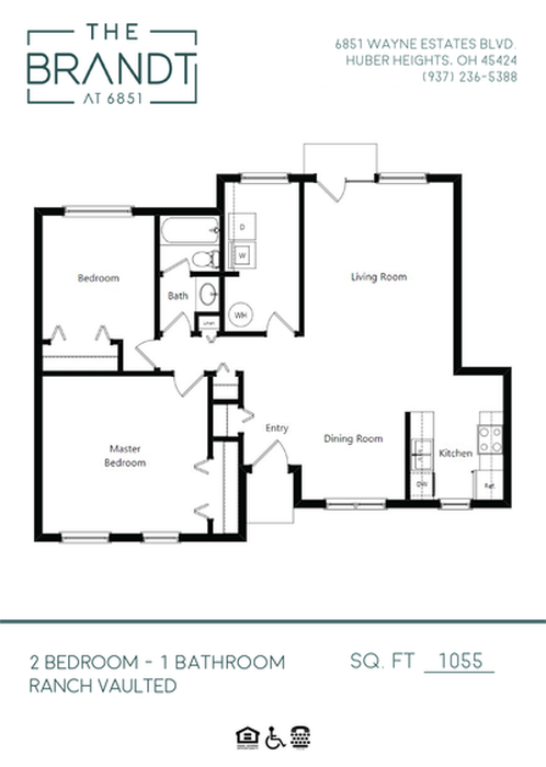 2 Bedroom - Ranch Vaulted Floor Plan Image