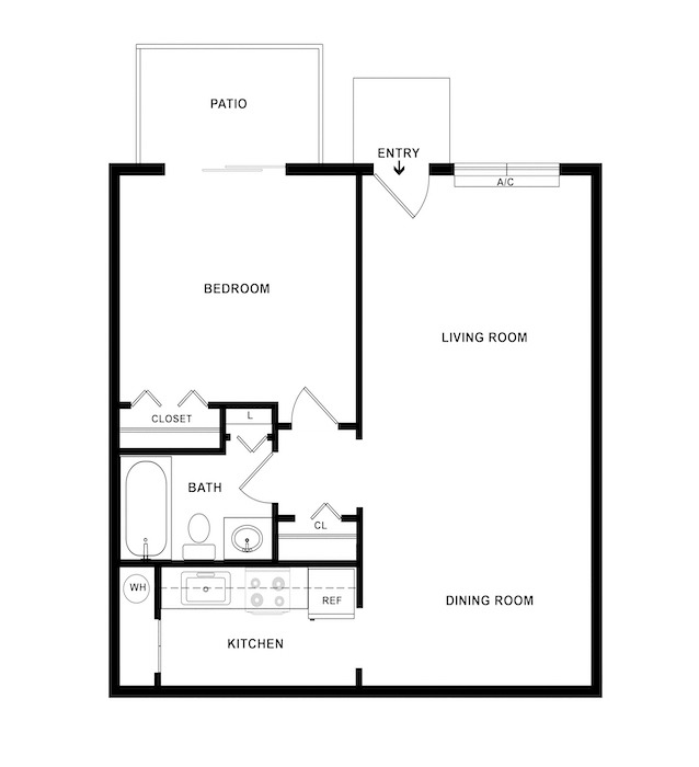 1 Bedroom - Cardinal Floor Plan Image